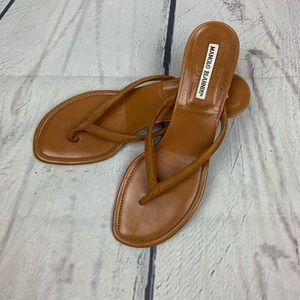 Manila Blahnik Suede Thong Sandals Size 8.5 !